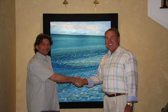 Francis Mesaros and William Lasky with his acquisition of a commissioned Pancture